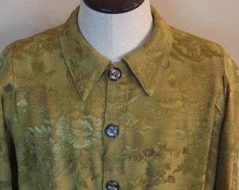 Vintage Chartreuse Rayon Brocade Poet Wedding Boho Rock Shirt