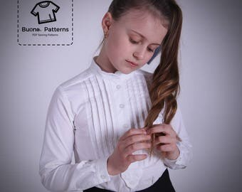 PDF pattern of long sleeves blouse with pleats on front for girls of age 6 to 13.Pleated shirt PDF pattern.Pleated blouse PDF pattern.