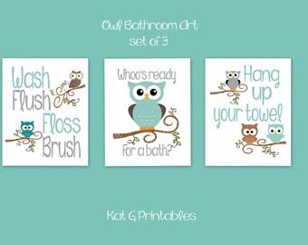 owl bathroom prints kids bathroom teal u0026 gray owl decor bathroom wall