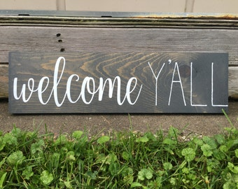 CLEARANCE, Ready to Ship, Welcome Y'all, Stained Sign, Rustic Wooden Sign, Farmhouse Decor, 5.5x20