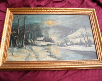 Vintage Winter Scene Oil Painting on canvas Signed Home decor Wall Hanging Collectible art Framed