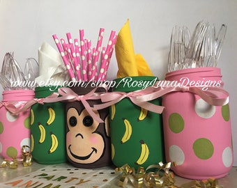 Safari Monkey themed birthday party mason jar set, baby shower decor, nursery decor