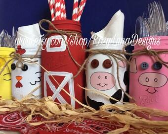 Barn and farm animal themed mason jar set, birthday party decor, nursery decor