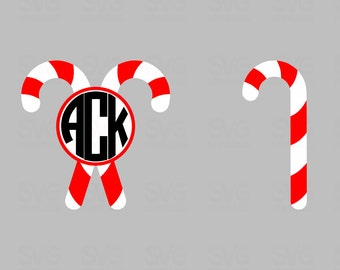 Candy Cane SVG Monogram Frame | Holiday Graphics and Decor