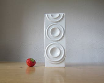 70s vintage plank hammer porcelain op art relief vase