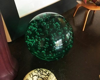 Emerald Green Bubble Glass Paperweight