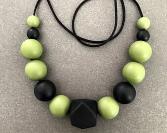 Black and khaki silicone bead nursing necklace