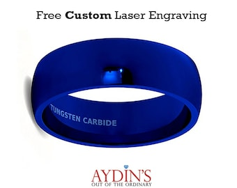 Mens Wedding Band Tungsten Ring 8mm Blue Polished Dome Comfort Fit Tungsten Carbide Wedding Ring