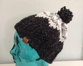Knit Bulky Cap/Hat with Pom Pom