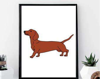 Dachshund Drawing Print // Minimalist // Wall Art // Office DIY // Scandinavian // Modern Office // Fashion Poster // Dog Poster // Modern
