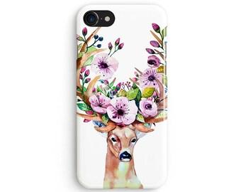 Watercolor floral deer antlers - iPhone 7 case, Samsung Galaxy S7 case, iPhone 6, iPhone 7 plus, iPhone SE, iPhone 5S, 1C041B