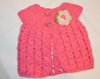 6 - 12 Months Girls' Bright Pink Cardigan