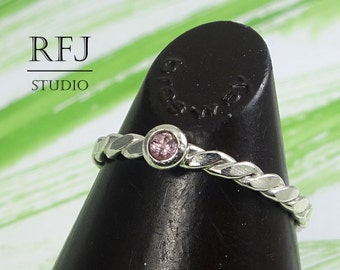 Natural Pink Tourmaline Flat Rope Silver Ring, 2mm Round Cut October Birthstone Flattened Twisted Ring Sterling Flat Braided Tourmaline Ring