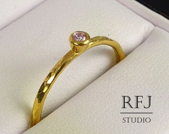 24K Gold  Hammered Lab Pink Diamond Ring, April Birthstone Yellow Gold Plated 2 mm Pink Cubic Zirconia Stackable Ring, Pink CZ GF Ring