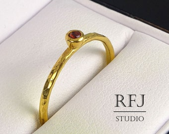 24K Gold Natural Garnet Hammered Ring, Yellow Gold Plated January Birthstone Ring 2mm Round Cut Red Genuine Garnet Sterling Stack Gold  Ring