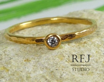 14K Gold Hammered Diamond Ring, Rose Gold Plated 2 mm Cubic Zirconia Ring, Stackable Rose Gold Ring, White CZ Ring, Rose Gold Plated Ring
