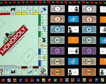 """Monopoly Fabric, Game Night:Mr. Monopoly Game board Panel By Quilting Treasures 100% cotton fabric by the Panel 23.5""""x44"""" (N561)"""