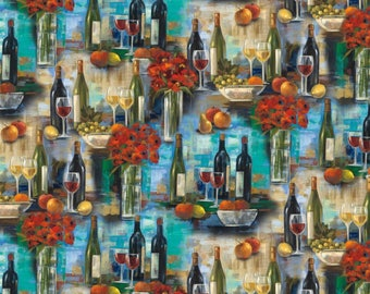 Wine Fabric, Vineyard Fabric: Afternoon Delights Red White Wine Bottles Premium by David Textiles 100% cotton Fabric (DA41)