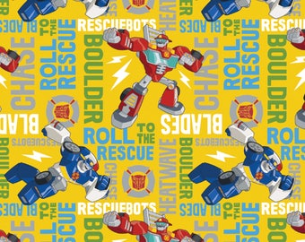 IN STOCK Cartoon Fabric, Transformers Fabric:  Transformers Rescue Bots Roll to the Rescue  100% cotton fabric ( SC367)