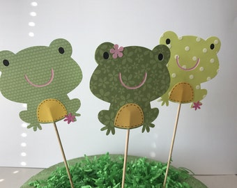 Toad Centerpieces, woodlands animals themed party decorations, toads baby shower Centerpiece, frog birthday party, set of six,