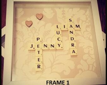 Scrabble Frame, Scrabble, Scrabble Tiles, Scrabble Wall Art, Scrabble Letters, Scrabble Word Gift, Scrabble Card, Scrabble Pictures