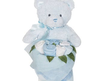 Rosebud Teddy Box - Cornflower Blue
