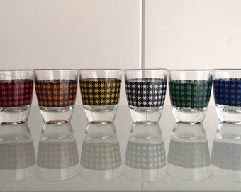 6 Retro likeur borrel glaasjes fifties / sixties Vintage Liquor shot glasses - shotjes