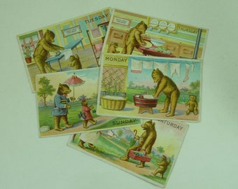 Comic 1907 Postcards Teddy Bear Days of the Week Embossed American Heal Part Set