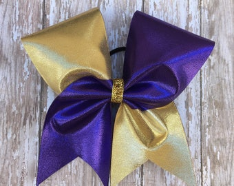 Purple and Gold Cheer Bow
