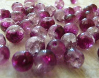 10x Crackle Glass Beads, 8mm Marbles Cracked Glass Beads, Purple Crackled Glass Beads, Spacer Beads, Beading Findings DIY Jewelry