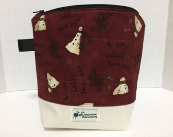 CLEARANCE 20% OFF, Wedge bag, Knitting Project Bag, Sock Size, Snowmen, Winter, Canvas Bottom