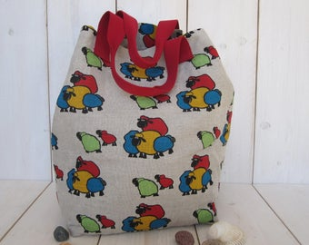 Canvas Tote Shoulder Bag Sheeps Beige Red Green Yellow Blue Beach Bag Shopping Bag