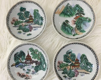 Set of 4 small chinoiserie nature scene decorative wall plates