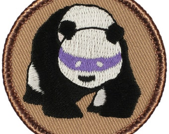 Ninja Panda Patch (123) 2 Inch Diameter Embroidered Patch