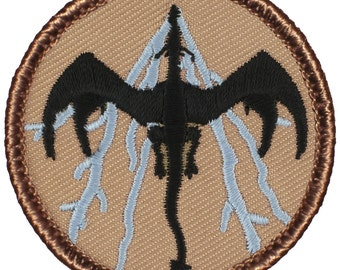 Black & Blue Lightning Dragon Patch (622B) 2 Inch Diameter Embroidered Patch