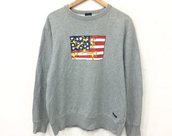 Rare! Vintage 90's KEITH HARING Pop Art USA Flag Sweatshirt Grey Colour Large Size