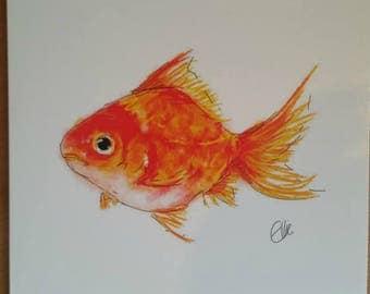 Goldfish card // fish card // goldfish birthday card // goldfish greetings card // fish greetings card // fish art // goldfish art