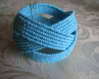 Vintage Turquoise Seed Bead Woven Cuff Bracelet