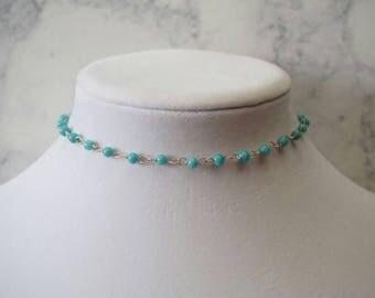 Sky Blue Beaded Choker Necklace