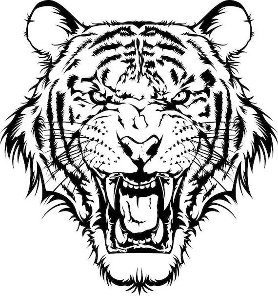 Extrêmement Tigre 1 tête Wild Cat école mascotte Company Logo. SVG. EPS. ZB55