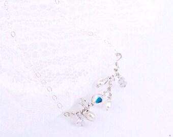 Delicate Beaded Necklace   Bridal Jewelry   Swarovski Crystal