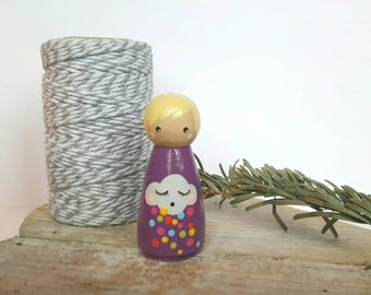 Wooden Peg Doll clouds rain weather nature natural learning birthday waldorf toy