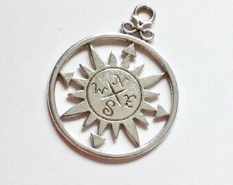 20-Silver Star Compass charms -36mm -nautical-boho