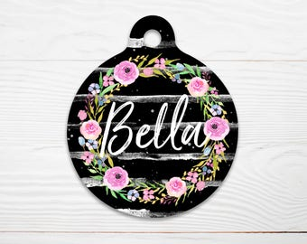 Floral Wreath Pet Tag, Pet Id Tag, Double Sided Pet Tag, Floral Cat Id Tag, Floral Dog Tag for Dog, Dog ID Tag, Floral Collar Tag, Puppy Tag