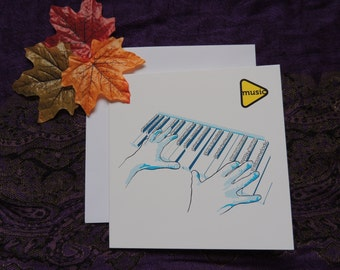 Musician blank greetings card. Piano / keyboard