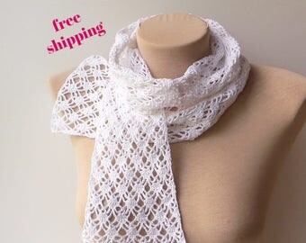 Cotton scarf, White scarf, Lightweight scarf, Crochet scarf, Women scarf, Summer scarf, Knit scarf, Lacy scarf, Soft scarf, Ladies scarf.