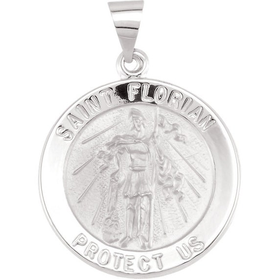 St Florian Necklace: 14k Gold St Florian Pendant St. Florian Cross Pendant Fire