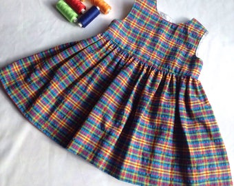 Toddlers soft cotton dress, in a colourful check pattern