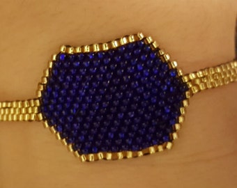 Blue Medallion with Gold Border and Gold Band