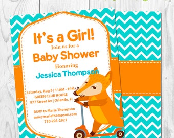 Fox light blue orange Baby Shower Invitation - Invite newborn baby girl boy - Instant Download